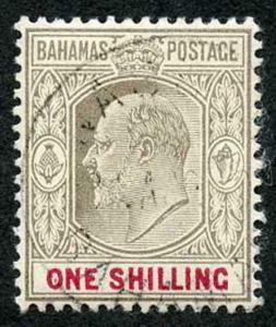 Bahamas SG68 1902 1/- Brownish grey and Carmine wmk Crown CA Fine used