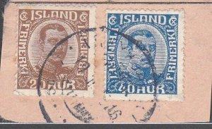 ICELAND 1916 SG134 & 136 used on piece......................................F719