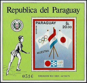 1972 Paraguay Olympics Sapporo, Flags, Sheet Nr. 178 MUESTRA VF/MNH!