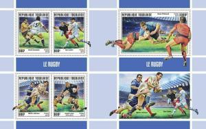 Z08 IMPERF TG190145ab TOGO 2019 Rugby MNH ** Postfrisch