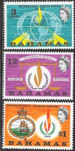 Bahamas 269-271 MNH - International Human Rights - Flame and Globe
