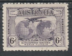 AUSTRALIA 1931 AIRMAIL 6D RE-ENTRY VARIETY CTO WITH GUM