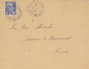 Martinique France 15F Marianne Gandon 1953 Sainte-Marie to Paris, France.  EU...