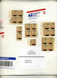 #1608 Cardboard Mailing Envelope 4 Plate Blocks 3 singles
