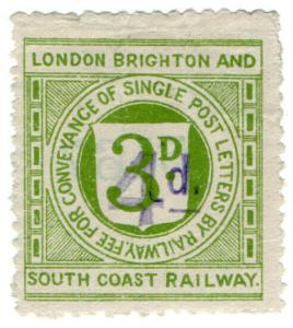 (I.B) London Brighton & South Coast Railway : Letter Stamp 4d on 3d OP