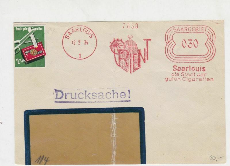 Germany 1934 Saarlouis Cancel House+Palm ORIENT Slogan Stamps Cover FRONT R19333