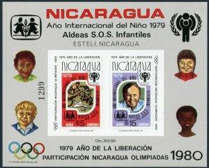 Nicaragua C970 imperf,MNH.Mi Bl.110B,MNH. Olympics Lake Placid,Moscow-1980.IYC.