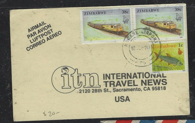 ZIMBABWE COVER (P2304B) 1991 TRAIN 38CX2+FISH 1C ON PPC TO USA