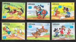 Grenada #1375-1380 Disney AMERIPEX 19868 (MNH) CV $1.50