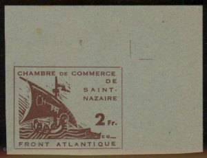 Germany 1945 WWII France Occupation St Nazaire Mi1 MNG Imperf Expertized 101569