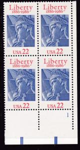 United States 1986 22c Statue of Liberty 1886-1986 Plate Number Block  VF/NH
