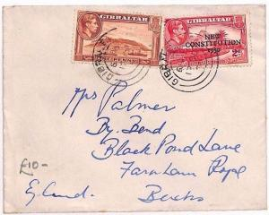 AU58 1950 Gibraltar *NEW CONSTITUTION* Mixed Franking GB Bucks {samwells-covers}