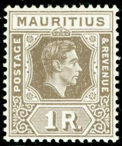 MAURITIUS SG260, 1r grey-brown, LH MINT. Cat £35.