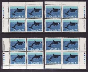 Canada id#13678-Sc#1173i-set of 4 plate blocks-Harrison paper-57c Killer Whale-N
