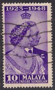 Malaya Negri Sembilan 1948 KGV1 10ct Violet Silver Wedding used SG 40 ( E286 )