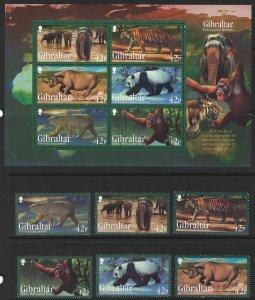 Gibraltar Scott 1284-1289 MNH! Complete Set! Endangered Animals!