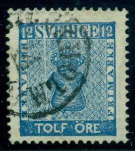 """SWEDEN #8v (9v6) 12ore blue, used, """"Exclamation Point"""", Plate Flaw, VF"""