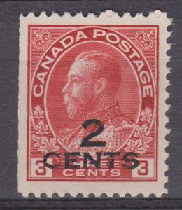Canada 1926 KGV 2c on 3c Carmine Sc#140  Mint VLH