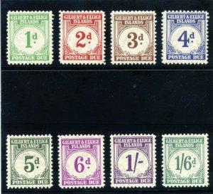 Gilbert & Ellice Is 1940 KGVI Postage Due set complete MLH. SG D1-D8. Sc J1-J8.