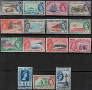 Cayman Islands 1953 SC 135-149 Set MNH CV$125.10 - Queen Elizabeth