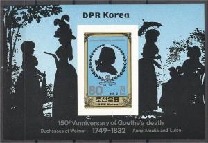 NORTH KOREA, J. W. GOETHE SOUVENIR SHEET 1982, MNH