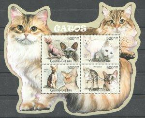 BC651 2011 GUINEA-BISSAU FAUNA PETS CATS GATOS KB MNH