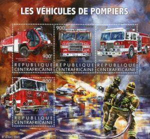 Central African Rep 2015 MNH Fire Engines 4v M/S Trucks Pierce Dash Contender