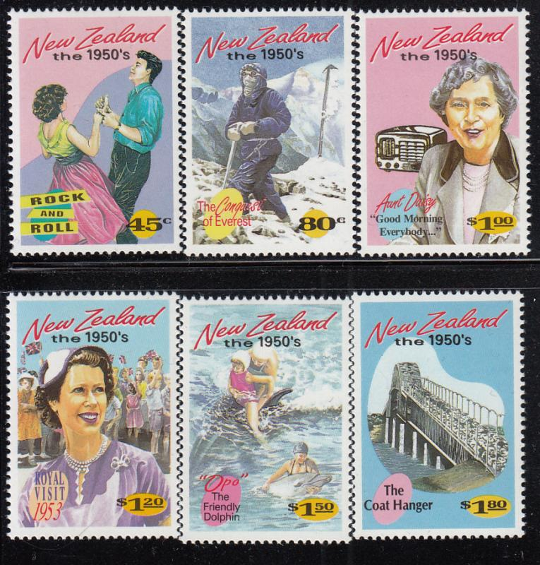 New Zealand 1994 MNH #1199-#1204 The 1950s Rock n roll, Everest, TV, Royal vi...
