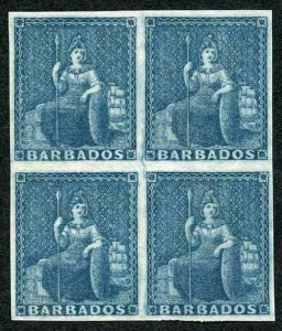 BARBADOS SG5a 1852 (no value) slate-blue Prepared for use but Not Issued SUPERB
