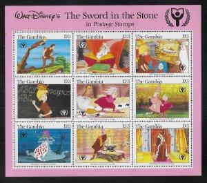 Gambia 1059 Disney Sword in the Stone mini-sheet MNH c.v. $15.00 (fr)