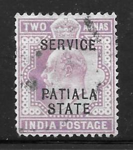 India Patiala O22: 2a Edward VII, used, F-VF
