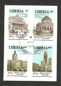 LIBERIA- FRAGMENT -  750 years Berlin - POSTMARK FDC - 1987. (1)