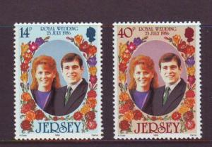 Jersey  Sc 404-5 1986 Royal Wedding Pr Andrew stamps mint NH