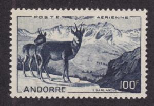 French Andorra Sc C1 MNH. 1950 100fr indigo Air Post VF+
