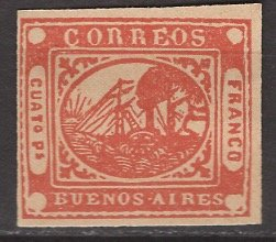 Argentina - Buenos Aires; 1858: Sc. # 4: */MH Single Stamp