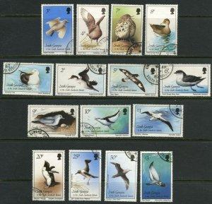 SOUTH GEORGIA Sc#109-123 1987 Birds Complete Set Used Scarce