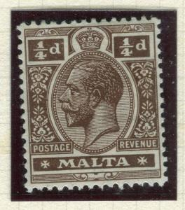 MALTA; 1914 early GV issue fine Mint hinged Shade of 1/4d. value