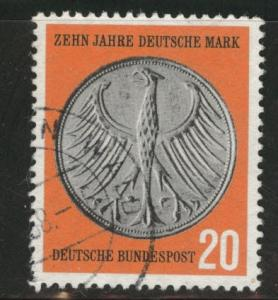 Germany Scott 787 used 1958 coin on stamp stamp