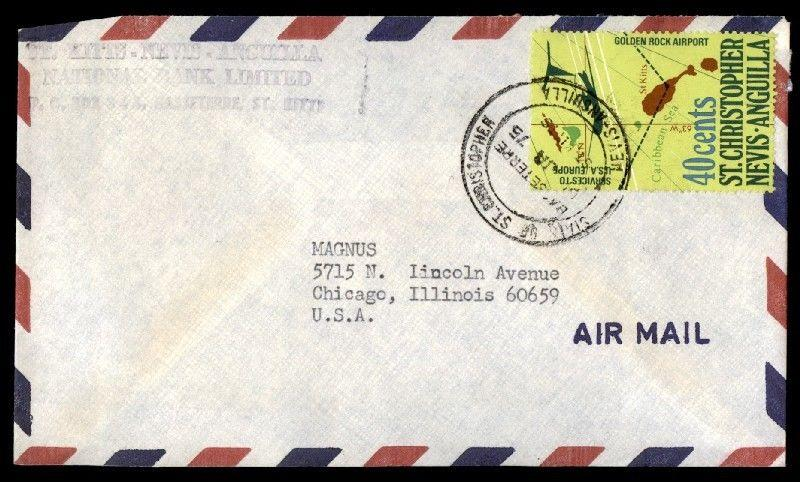 St. Christopher 1975 40 Cents Rate Cover Airmail To Chicago Illinois