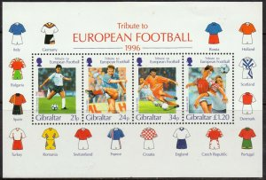 1996   GIBRALTAR  -  SG.MS 775 -  EURO FOOTBALL CHAMPIONSHIPS - UNMOUNTED MINT