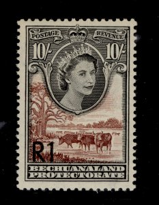 BECHUANALAND PROTECTORATE QEII SG167a, 1r on 10s NH MINT. Cat £32.