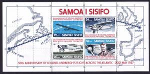 Samoa MNH S/S 453a Lindbergh's Transatlantic Flight Planes 1977