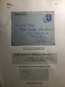 1949 Egypt British Field Post MEF Military Hospital Cover To Khartoum Sudan