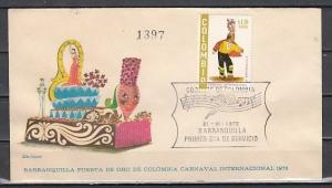 Colombia, Scott cat. C573. Carnival Dancer issue. First day cover.