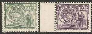 Norfolk Island 1956 seal and settlers Scott 19-20 MLH