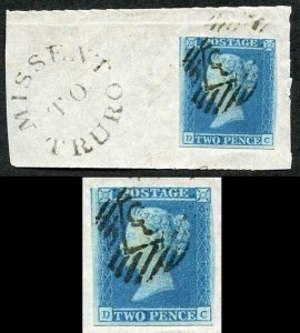 1841 2d Blue (DC) Fine Used On Piece Mis sent to Truro