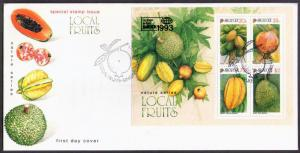SINGAPORE - 1993 Singapore Local Fruits MS on FDC