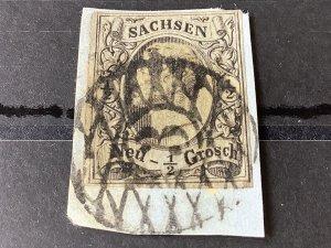 Saxony 1855 Grid Number 3 for Dresden Neustadt train station Cancel Stamp 57155