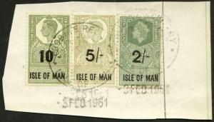 Isle of Man KGVI 10/- 5/- and 2/- Key Plate Type Revenues CDS on Piece