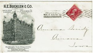 1896 Chicago machine cancel on ad cover for Dr. King's pharmaceutical products
